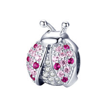 925 Sterling Silver Ladybird Charms Pink CZ Clear Beads for Jewelry Making fit Original Pandora Bracelets Women DIY Jewelry fits pandora reflexions bracelets charms 925 sterling silver with clear cz timeless sparkle clip beads for women jewelry diy