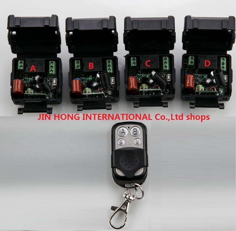 New AC 220 V 1 Ch RF Wireless Remote Control Switch 4 Mini Receiver 1 Transmitter