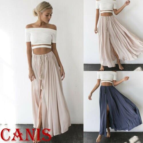Summer Women's Casual Chiffon BOHO Skirt Solid Color High Waist Bandage Ladies Long Skirt Loose Gypsy Long Maxi Full Skirt