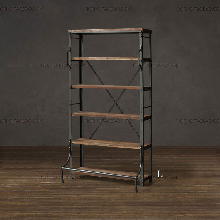 Loft American Country Retro Mining Wood Wrought Iron Shelf Bookcase Display Rack Racks In Luggage From Furniture On Aliexpress