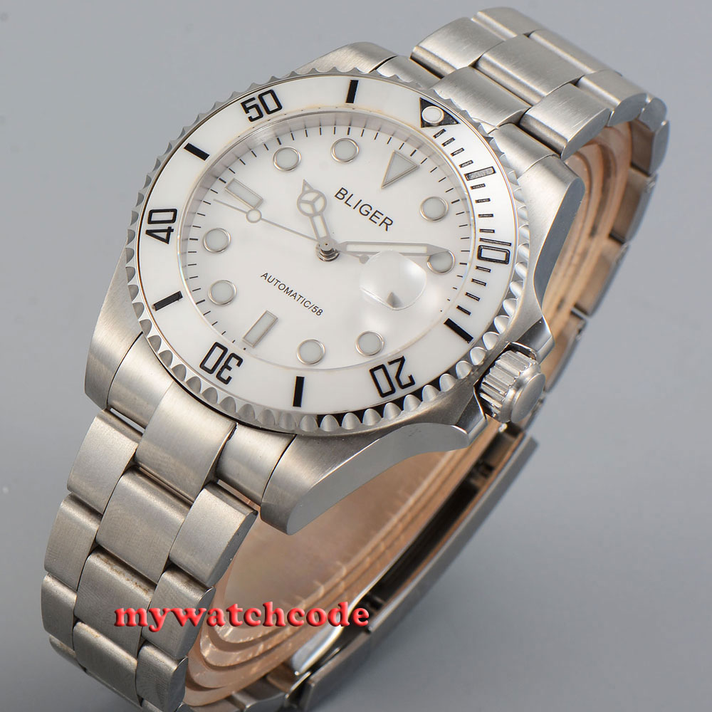 лучшая цена 43mm Bliger white dial date window sapphire crystal automatic mens watch P34B