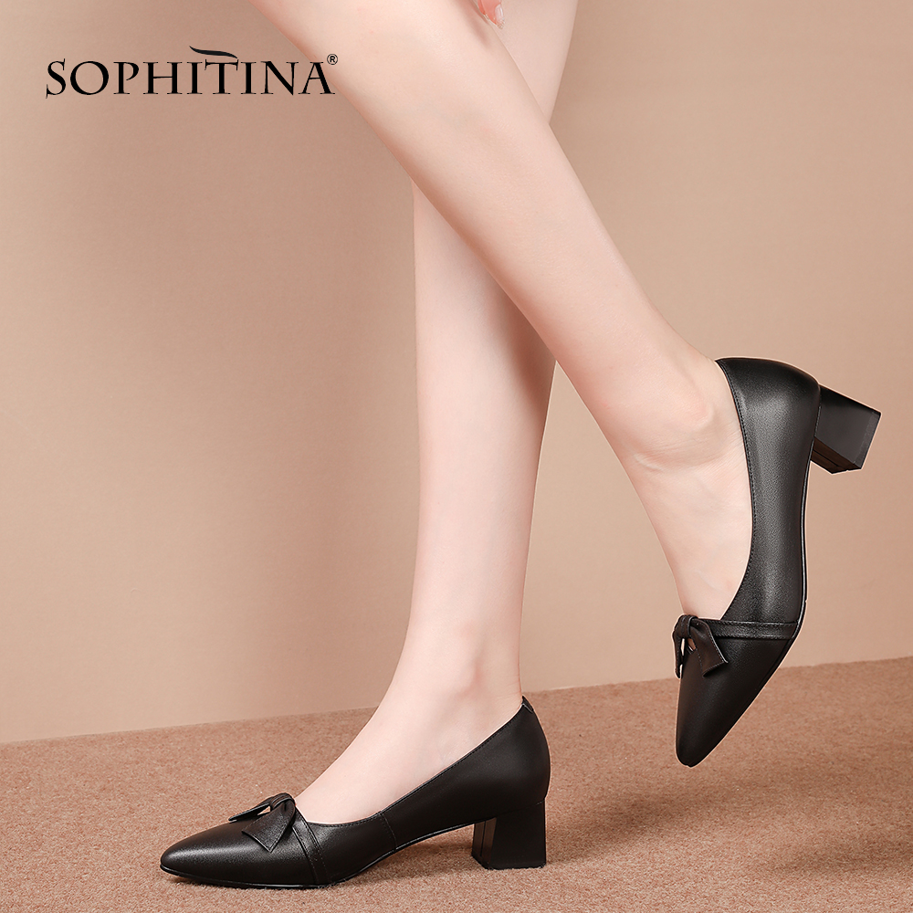 SOPHITINA Casual Genuine Leather Square Heel Ladies Pumps Fashion Butterfly Knot Shoes Sexy Pointed Toe Basic Women Pumps SO214