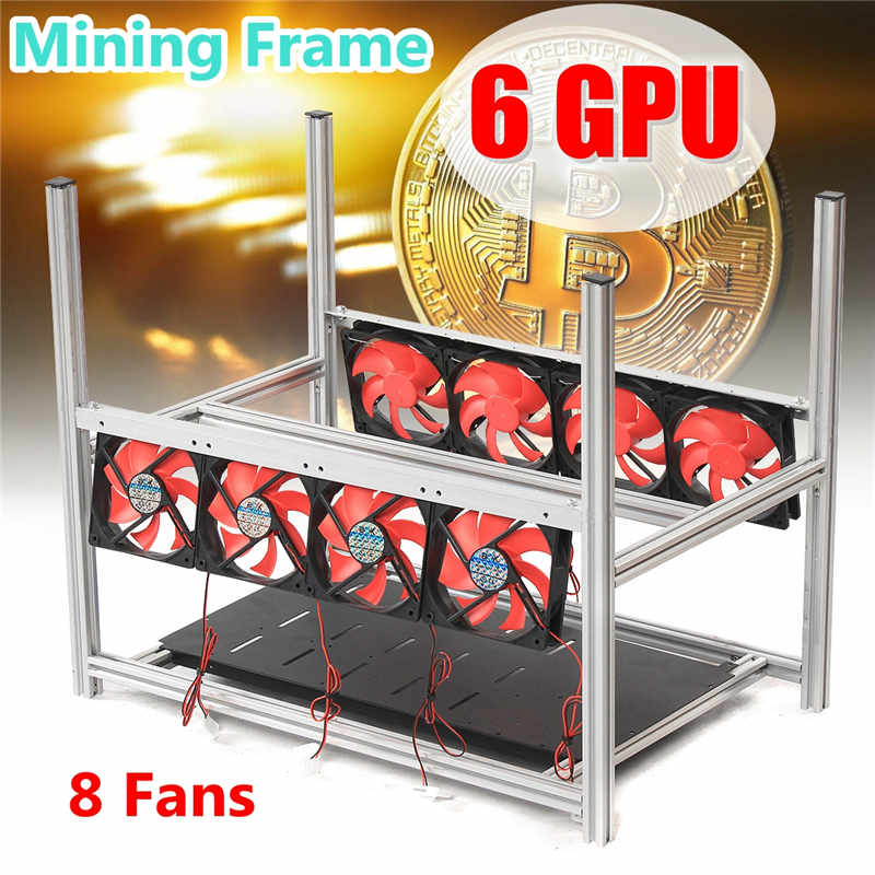 6GPU Aluminum Stackable Box With 8 Fans Mining Platform Case Outdoor Open Air Frame ETH/ ...