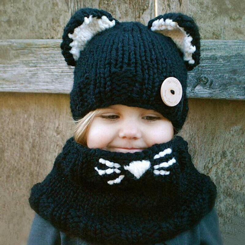 Winter Cute Cat Soft Warm Beanie and Scarf Set for Baby Girls 2-8 Years Kid Knitted Hat Shawl Hooded Cowl Beanie Cap for child zea rtm0911 1 children s panda style super soft autumn winter wear cap scarf set blue