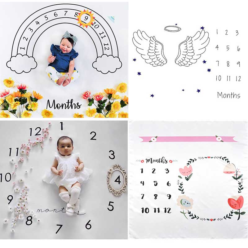 Manta de bebé para bebé, manta para fotografía, mantas para telón de fondo, calendario de tela, bebé, niña, accesorios de foto 100x100cm