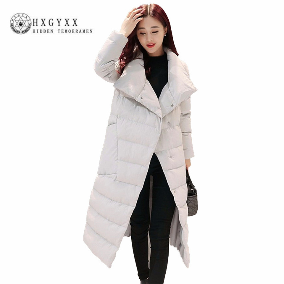 2017 Winter Long  Parka Turn-down Collar Single Breasted Slim Cotton-padded Coat Thicken Warm Big Pocket Jacket AA317 цены онлайн