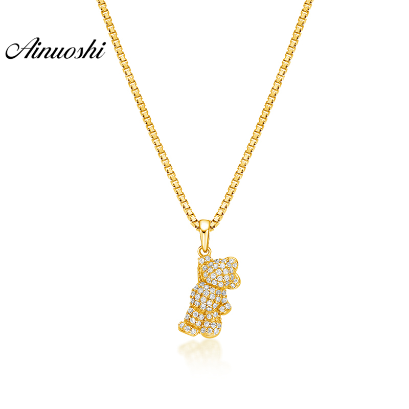 все цены на AINUOSHI 10K Solid Yellow Gold Pendant Cute Mouse Pendant SONA Diamond Women Men Child Jewelry Little Animal Separate Pendant онлайн