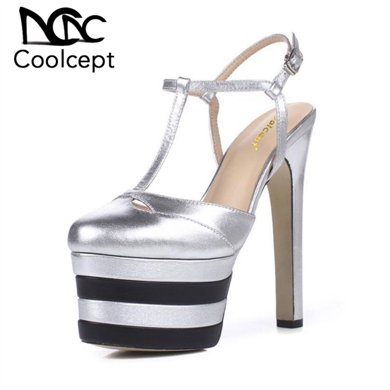 Coolcept Sexy Lady Genuine Leather High Heel Sandals Women Ankel Strap Platform Summer Shoes Sexy Party