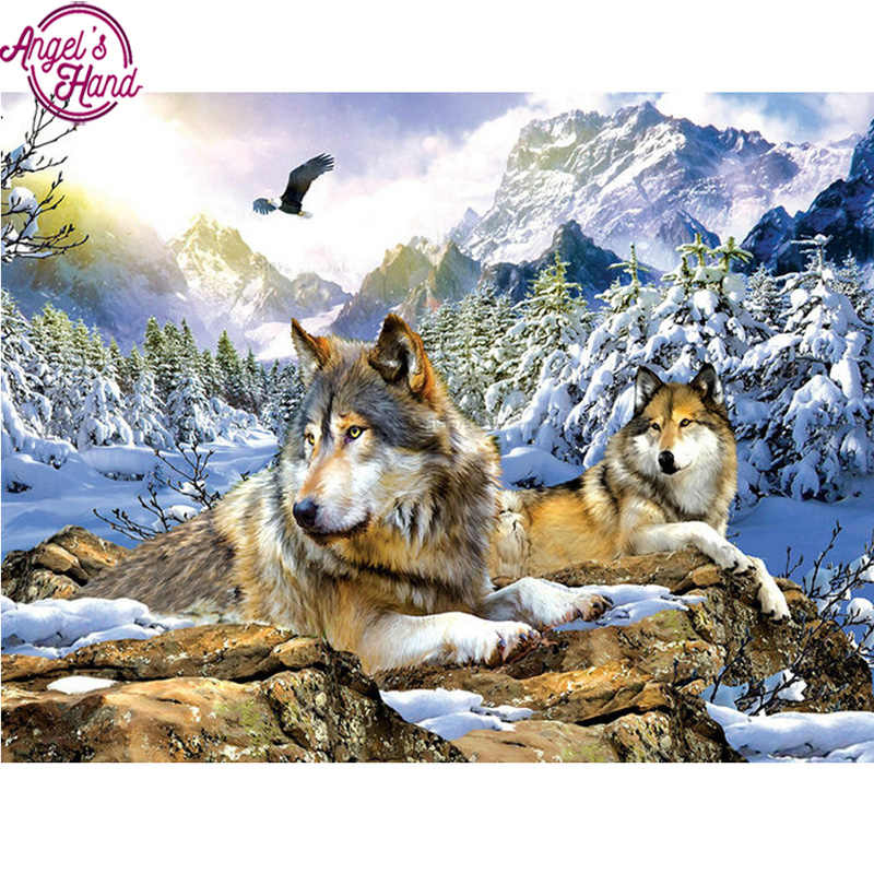 5D Diy Diamond Painting Crystal Cross Stitch Full Needlework Home Decorative 3D Full Square Diamond Embroidery winter Snow Wolf