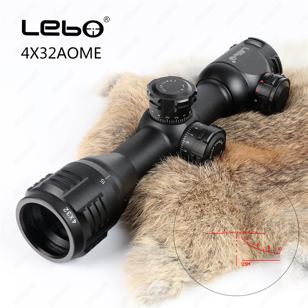 LEBO For Hunting Riflescope 4x32 AOME Tactical Optical Sight Glass Reticle Red Green Illuminated Compact Lock Rifle ScopeLEBO For Hunting Riflescope 4x32 AOME Tactical Optical Sight Glass Reticle Red Green Illuminated Compact Lock Rifle Scope