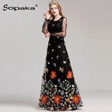 2018 Spring High Quality Mesh Floral Embroidery Long Dress Full Sleeve Vintage Flower Black Runway Designer Maxi Women Desses