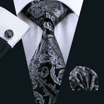 Mens Tie Black Paisley 100% Silk