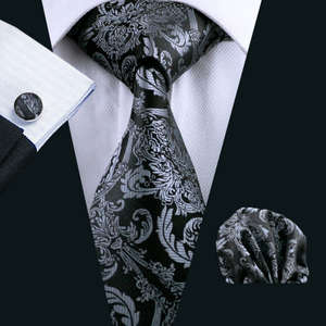 Black 100% Silk Barry.Wang Tie Hanky Cufflinks Set For Men