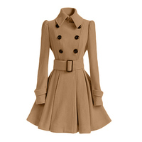 2016 Runway Fashion Winter Women Wool Double Breasted Coats And Jackets Female Long Sleeve Overcoat Skirt