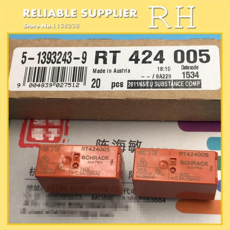 10 pçs/lote relés de potência rt424005 rt424012 rt424024 5 v 12  24 v 8a 8pin dois conjuntos de conversõespower relay5v 12v relaypower  relay 5v