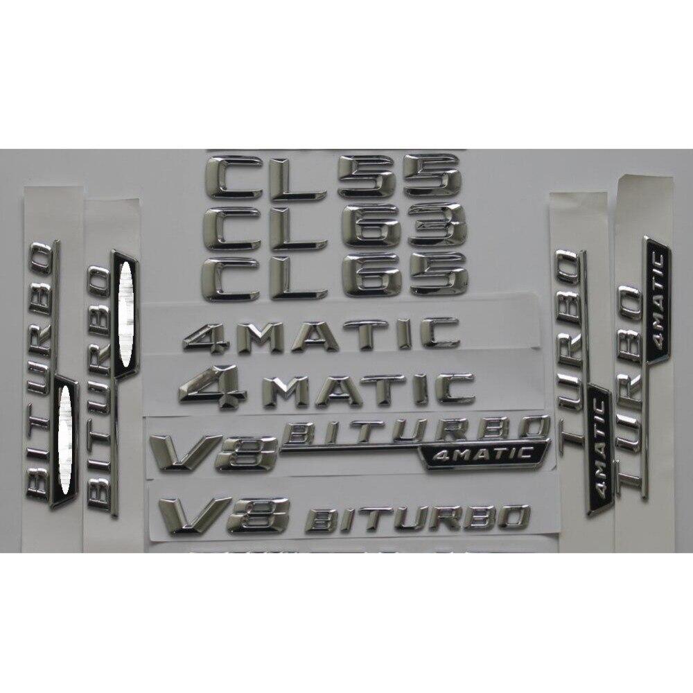 Chrome 3D En Plastique coffre de voiture Arrière Lettres Mots Badge Emblème Emblèmes Autocollant pour Mercedes Benz AMG CL55 CL63 CL65 AMG 4 MATIC