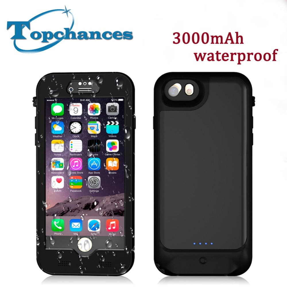 Waterproof New Full 3000mAh Power bank case pack backup battery Charge case cover for iPhone 6 6s 7 4.7 inch