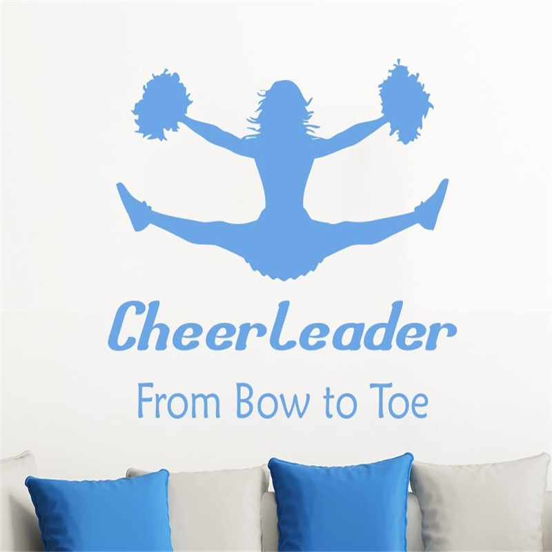 Cheer Leader Art Quotes Wall Stickers With Jumping Athlete Silhouette Creative Acting Wall Decals Home Livingroom Decor