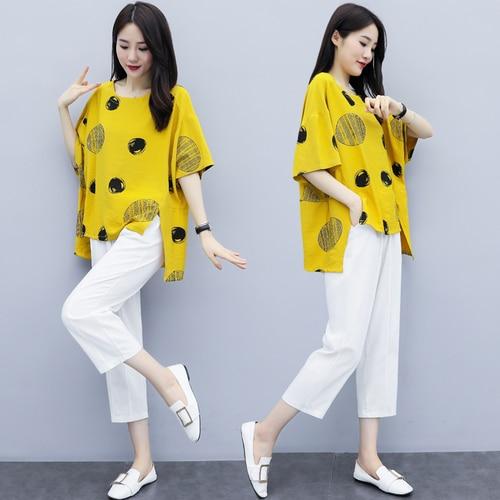 Summer Cotton Linen Two Piece Sets Outfits Women Plus Size Dot Print Tops And Harem Pants Suits Casual Vintage Loose 2 Piece Set 42