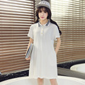 Summer Fresh Campus Style Maternity Dress Turn-down Collar Short Sleeve Young Pregnant Lady Dress Students Gravida Clothes