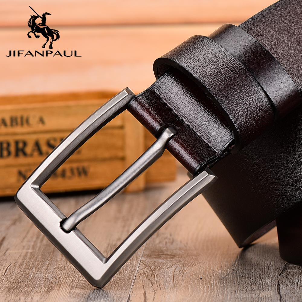 JIFANPAUL Leather Men's Belt Classic Pin Buckle Design Fashion Modern Youth Jeans Decorative High Quality New Belt Free Shipping