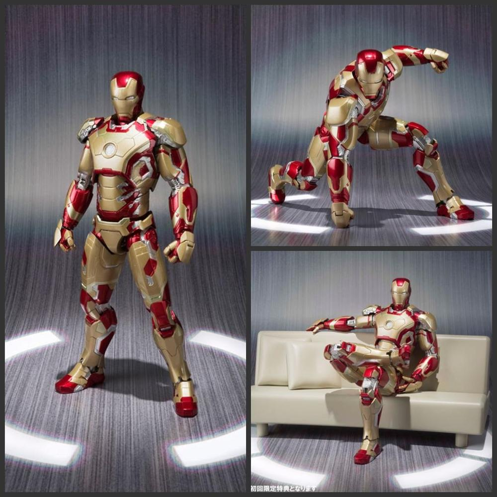 Avengers SHFiguarts Iron Man Mark 42 with Sofa MK43 PVC Action Figure Collectible Model Toy Boxed W165 shfiguarts batman the joker injustice ver pvc action figure collectible model toy 15cm boxed