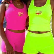 InstaHot Letter Print Tank Top Shorts 2 Piece Set Women 2019 Summer Holiday U Neck Neon Green Rose Red POISON Sleeveless Sets(China)