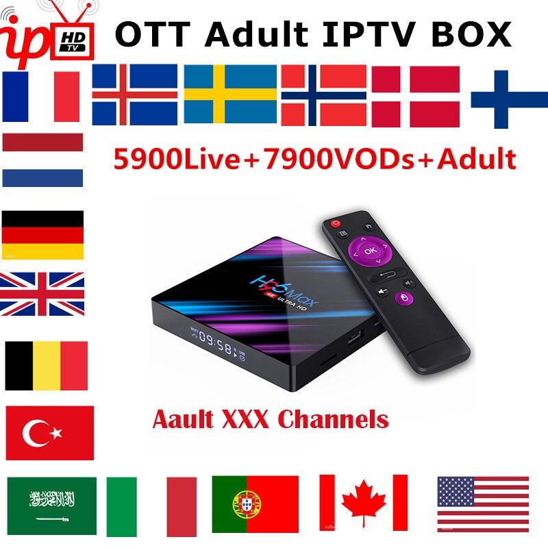 H96 MAX Smart IPTV Box inalámbrico Android 9,0 1 año Francia Portugal Bélgica Países Bajos Italia Reino Unido IPTV suscripción TV caja