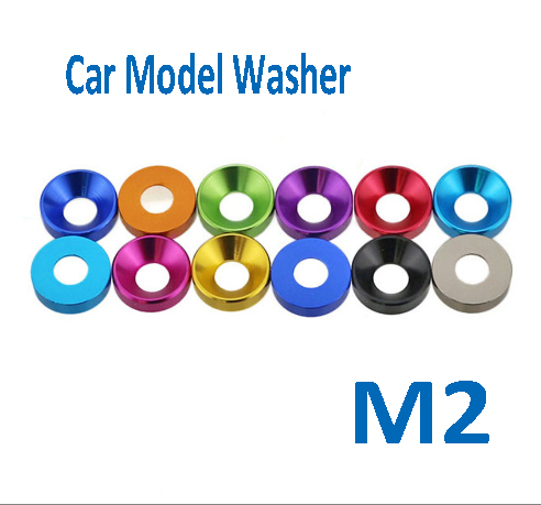 10pcs M2 Aluminum Alloy DIY Gasket Flat Round Countercunk CSK Head Anodic Oxidation Car Model Washer