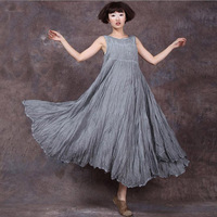 New Plus Size Summer Women Cotton Solid Color Dresses New Casual Simple Loose Waist O Neck