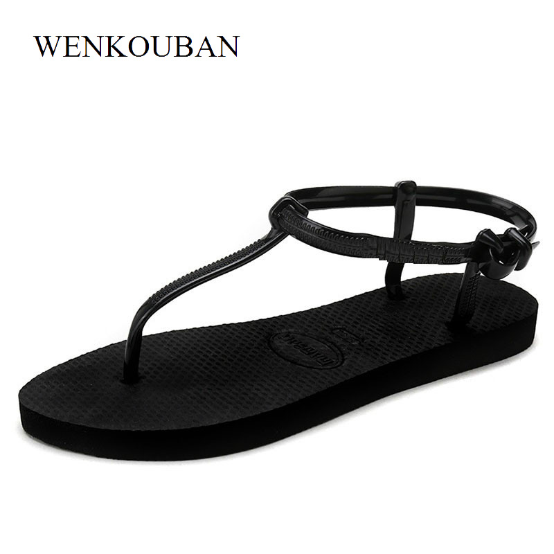 T Stripe Flat Gladiator Sandals Women Summer Tap Beach Shoes Ladies Flip Flops Slippers Female Sandalia feminina summer flat sandals female gladiator sandals basic slippers stripe flat heel anti skidding beach shoes sandalias