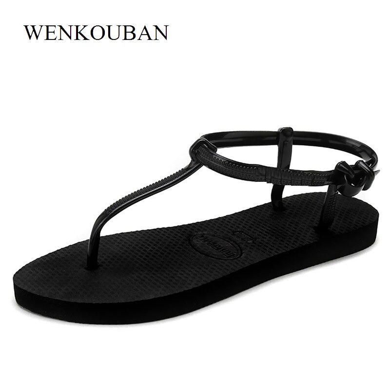 T Stripe Flat Sandals Women Summer Tap