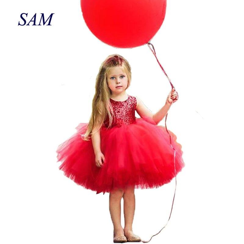 Princess Kids Baby Fancy Wedding Dress Sleeveles Sequins Party Dress For Girl Summer Dresses