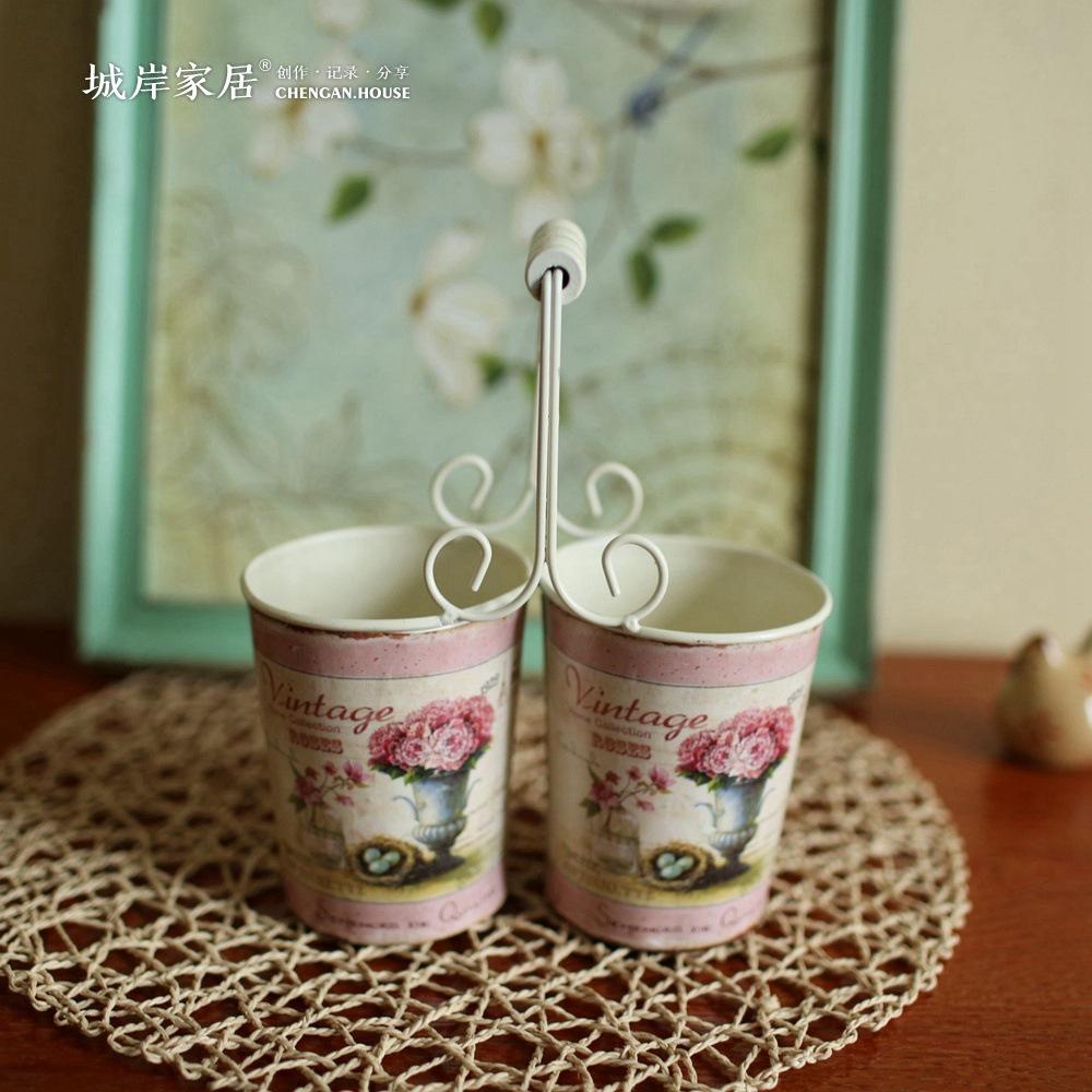 simulacin creativa flores secas doble jarrones de estilo country americana florero de metal estilo postoral jarrones