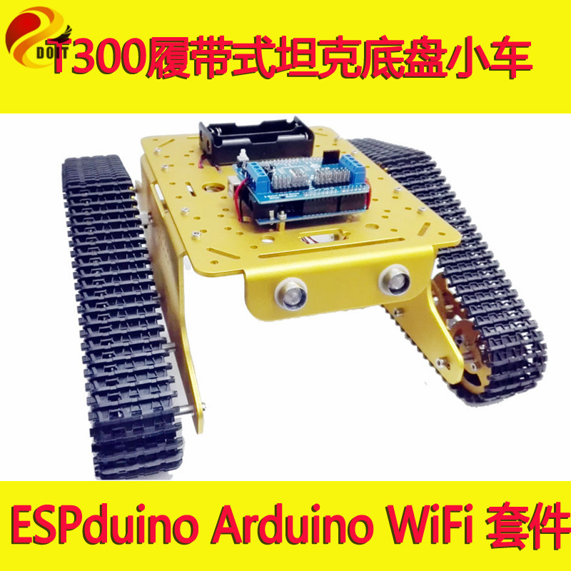 Arduino WiFi RC Control Robot Crawler Tank Chassis T300 with ESPduino Development Board+ Motor Driver Board by Android iOS doit rc metal robot tank chaiss t300 wireless wifi car with esp8266 development board kit remote control page 4
