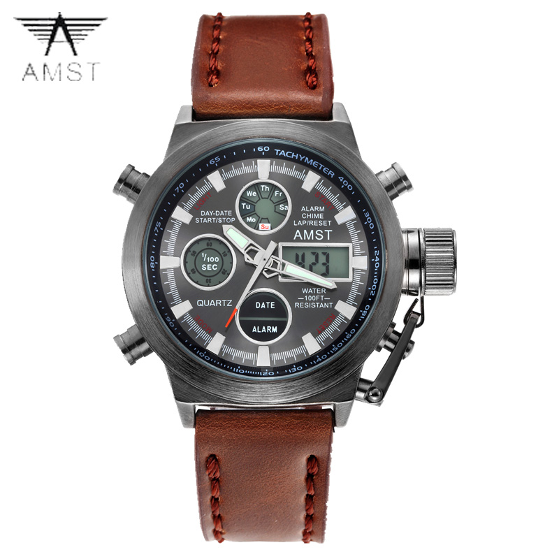 luxury brand AMST 3003 dive LED watch sport Military Watch Genuine quartz watch men wristwatches canvas strap relogio masculino потолочный светильник kemar tanaja t m p brown