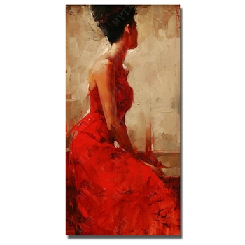 Beautiful sexy painting hot sex images women oil painting hand painted  sexy red  dressing women framed canvas art