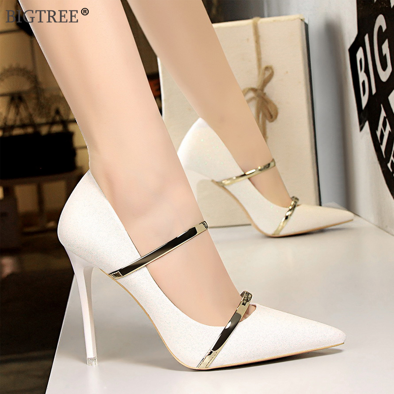 Women high heels 2019 new Sequins paillette shoes pointed toe Glitter stiletto Sexy Ladies Ankle strap Silver party pumps