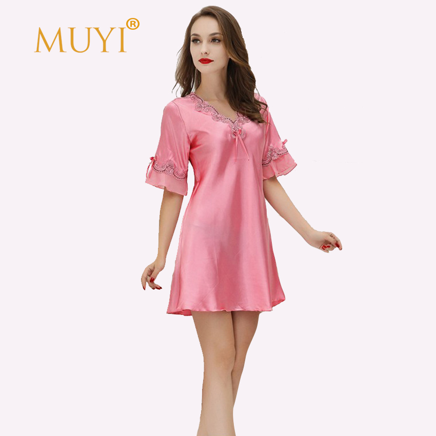 V neck Nightgown Embroidery Nightwear Sleepwear Women Sexy ... - photo#28