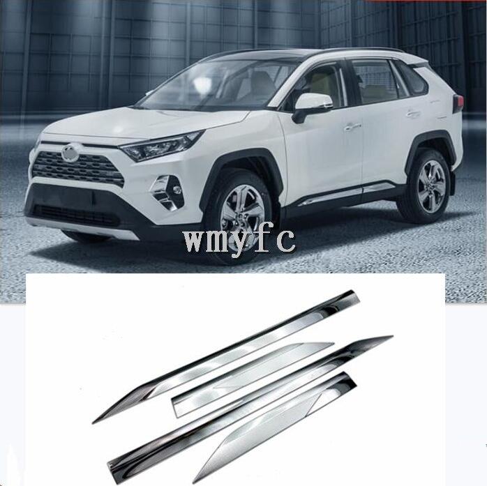Moulage de corps de porte en Chrome ABS adapté pour Toyota RAV4 2019 2020 accessoires de voiture bandes latérales revêtement d'habillage