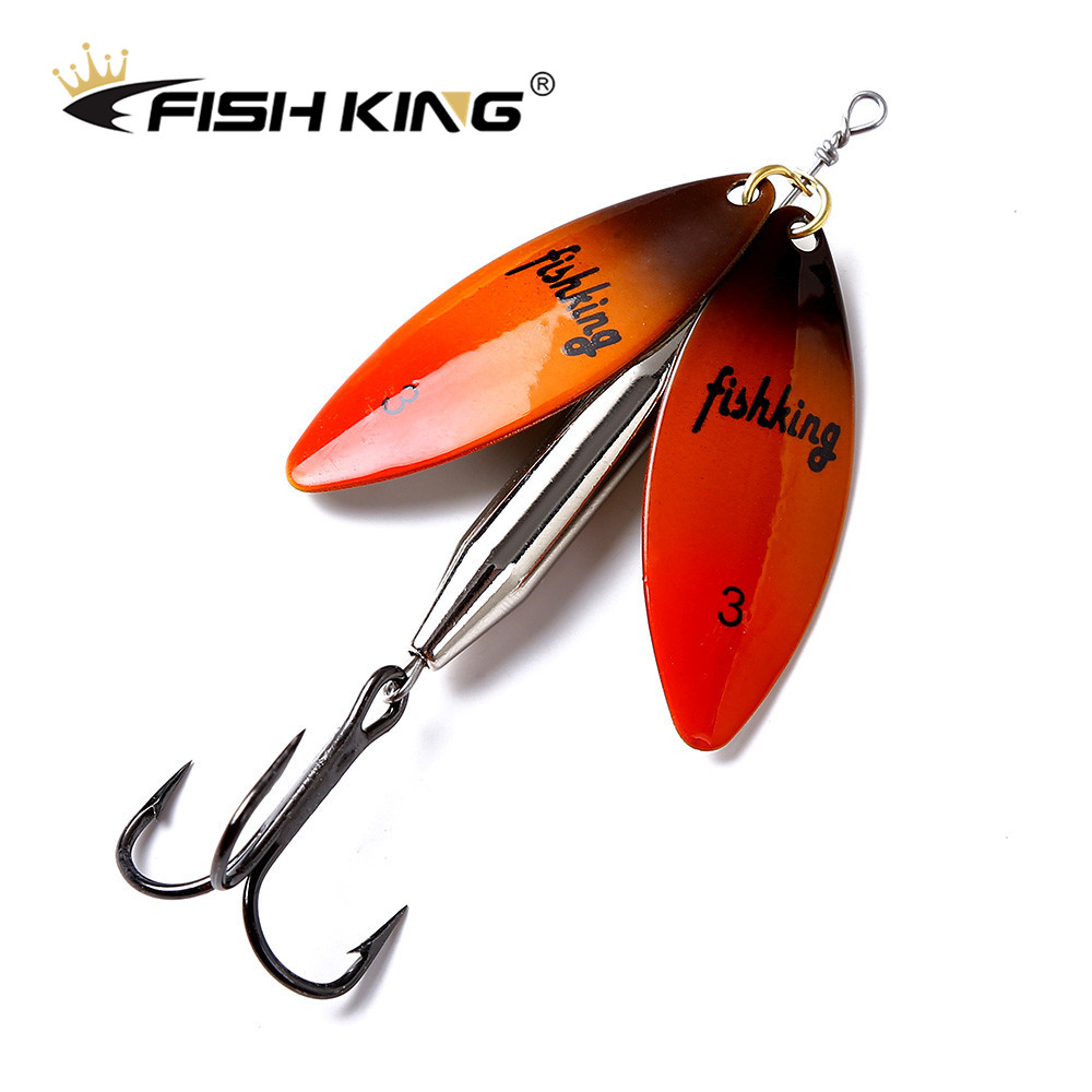 FISH KING 1pcs 24g Long Cast Fishing Lure Double Spinner Bait Artificial Hard Slice Metal Lures For Pike Fishing Fishing Tackle