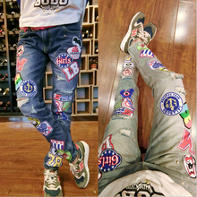Jean Femme 2016 High Street Fashion Badge Patchwork Jeans Washed Hole Denim Feet Slim Casual Pants A-147