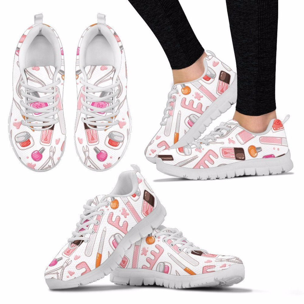 INSTANTARTS Women Mesh Running Shoes Proud Nail Tech Makeup Tools Print Sneakers Girl Student Female Sports Outdoor Fitness ShoeINSTANTARTS Women Mesh Running Shoes Proud Nail Tech Makeup Tools Print Sneakers Girl Student Female Sports Outdoor Fitness Shoe