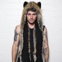 Men Faux Fur Hood Animal Hat Ear Flaps Hand Pockets 3in1 Animal Hood Hat Wolf Plush Warm Animal Cap with Scarf Gloves