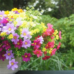 Image 2 - Un ramo de 7 ramas y 28 cabezas, Margarita de seda Artificial, flores decorativas DIY, ramo de flores de boda, Decoración de mesa de habitación para el hogar