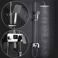 Modern Chrome Bathroom Rain Shower Mixer Sink Set With LED Centigrade Temperature Display Bath Shower Faucets