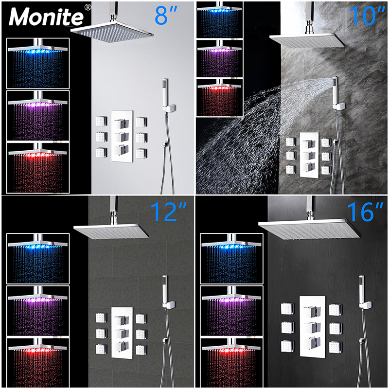 Monite 8 10 12 16 Inch Solid Brass LED Bathroom Shower Set Bath Shower Mixer Faucet Ceiling Rainfall Shower Head Shower Set стоимость