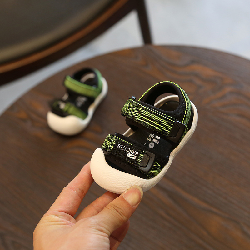 2018 NEW 12-14CM Summer Newborn Baby Boys Casual Breathable Canvas Baby Slippers Green Soft 0-3 Year Prewalker Sandal Shoes