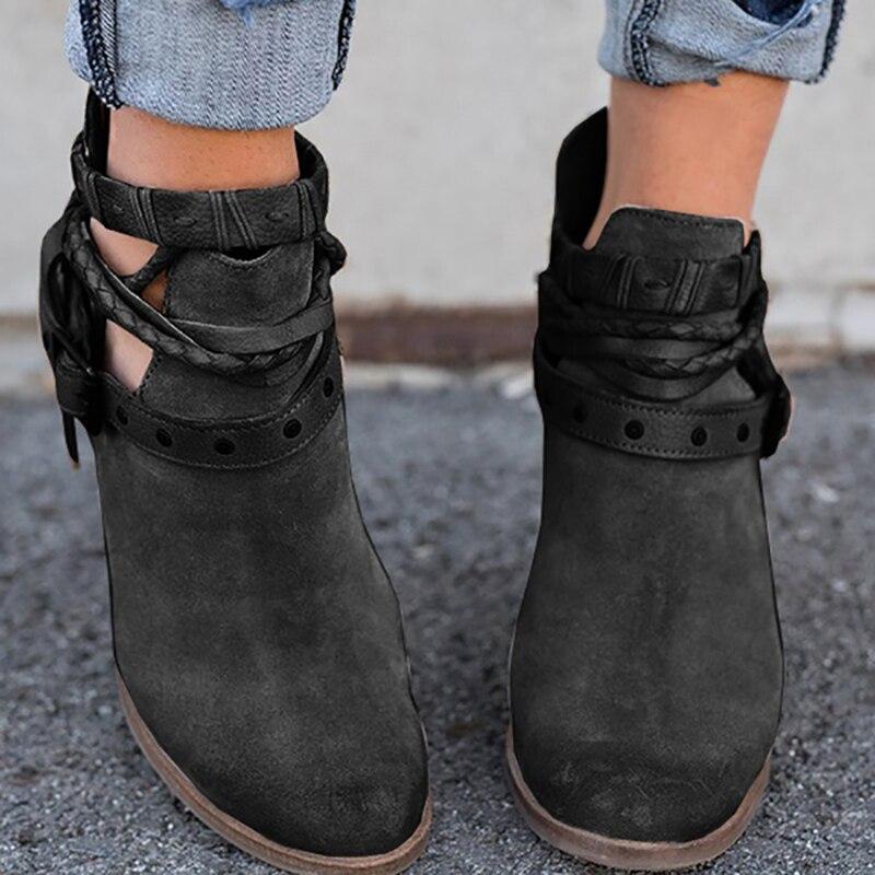 6a71eaa9 Altos Botas Diarios Para Mujeres De Otoño gris Pu Tacones Moda Mujer  Remache Primavera rojo Negro Cuero Zapatos Hebilla X45qwp
