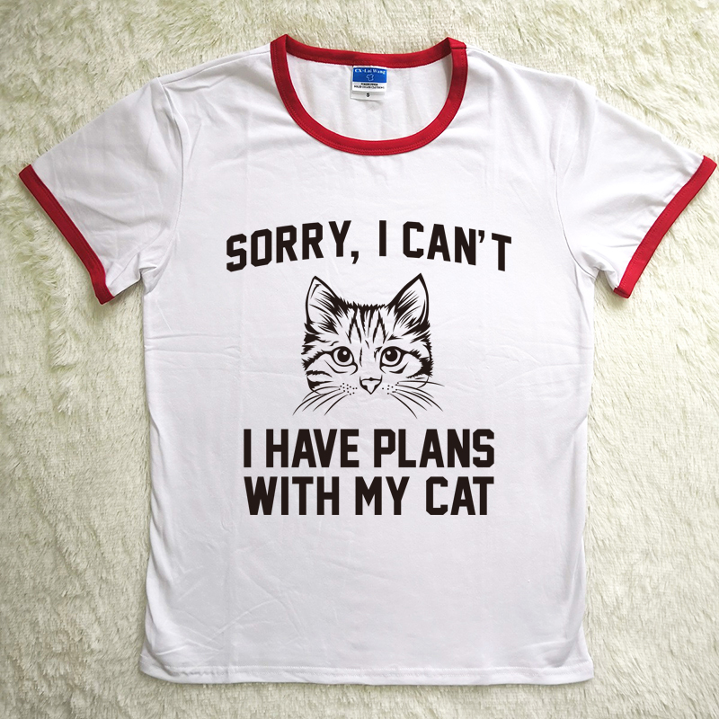 Hillbilly Cat Print Women Tshirt Polyes Casual Funny T Shirt for Lady Sorry I Can't I Have Plans with My Cat Letter Red Neck Tee